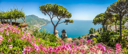 Photo for Scenic picture-postcard view of famous Amalfi Coast with Gulf of Salerno from Villa Rufolo gardens in Ravello, Campania, Italy - Royalty Free Image