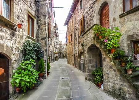Photo pour Beautiful view of old traditional houses and idyllic alleyway in the historic town of Vitorchiano, province of Viterbo, Lazio, Italy - image libre de droit
