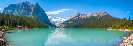 Photo for Beautiful panoramic view of Lake Louise mountain lake in Banff National Park on a sunny summer day, Alberta, Canada - Royalty Free Image