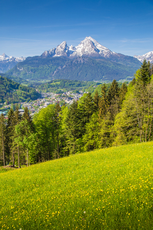 Foto de Scenic view of idyllic mountain scenery with famous Watzmann mountain peak and blooming meadows on a beautiful sunny day with blue sky in springtime, Berchtesgaden, Germany - Imagen libre de derechos