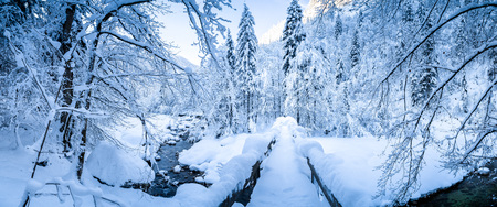 Photo pour Panoramic view of scenic winter with wooden bridge leading over river bed covered in deep snow on a beautiful cold sunny day - image libre de droit