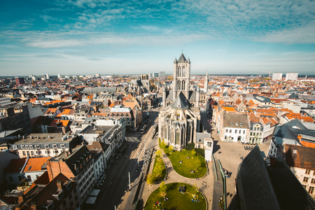 Photo for Aerial panoramic view of the historic city of Ghent on a beautiful sunny day with blue sky and clouds in summer, province of East Flanders, Belgium - Royalty Free Image