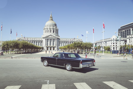 Photo for Historic San Francisco City Hall with vintage car on a beautiful sunny day with blue sky in summer, San Francisco, USA - Royalty Free Image