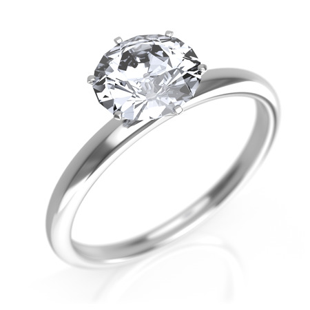Photo pour Silver ring with diamond - image libre de droit