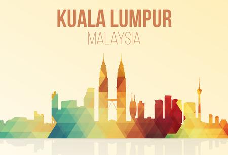 Illustration pour Kuala Lumpur, Malaysia landmarks skyline in trigonometry. vector illustration. - image libre de droit