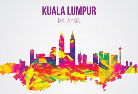 Illustration pour Kuala Lumpur, Malaysia landmarks skyline. vector illustration. - image libre de droit