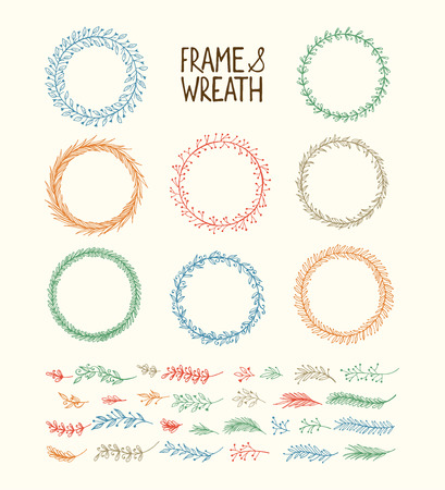 Illustration for Hand drawn wreath and frame. Vector illustration - Royalty Free Image