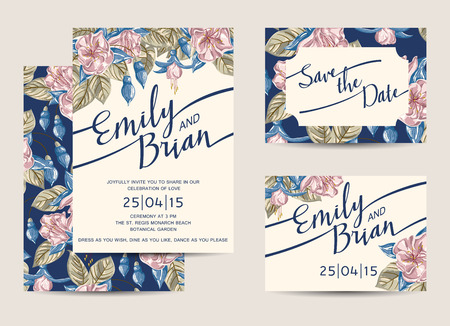 Photo pour Set of Wedding Invitations Template. Vector Illustration. - image libre de droit