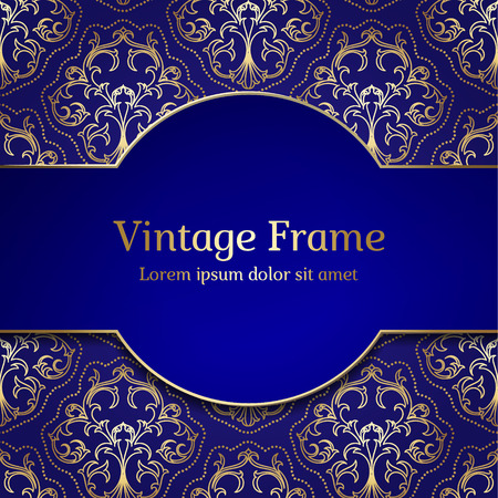 Photo pour Vintage Royal Gold Frame. Damask Luxury Background. - image libre de droit