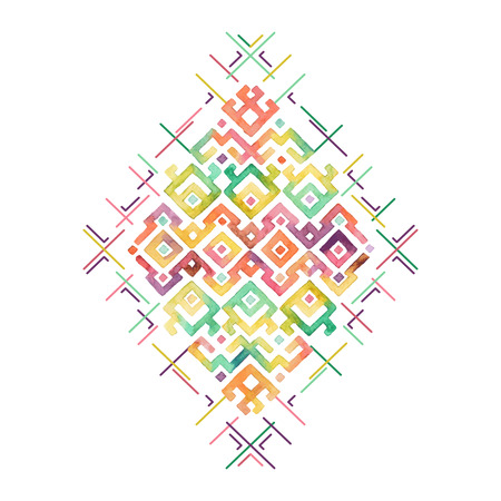 Illustration for Hand drawn watercolor ethnic t-shirt print template. Tribal vectorr pattern. - Royalty Free Image