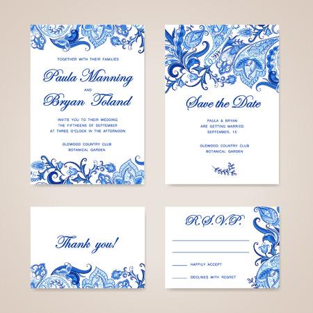 Ilustración de Set of wedding invitation card with traditional ethnic flower paisley ornament. Invitation, Save the date, RSVP, Thank you card printable template. - Imagen libre de derechos
