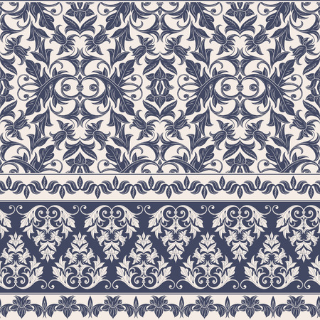 Illustration pour Seamless decorative damask floral pattern. Royal wallpaper. Floral background best for invitations or announcements. Elegant luxury texture for wallpapers, borders, backgrounds and page fill. - image libre de droit