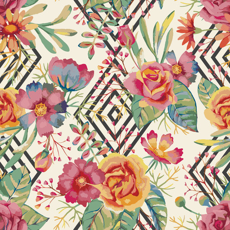 Ilustración de Hand drawn watercolor floral pattern. Romantic seamless background for posters, placards, invitation, wedding, greeting and save the date cards. - Imagen libre de derechos