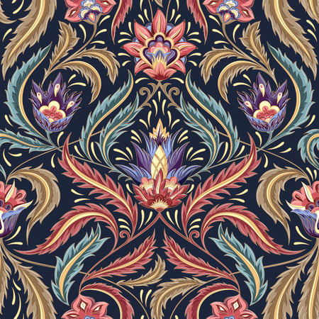 Illustration pour Vintage flowers seamless  pattern on navy background. Traditional decorative retro ornament. Fabric, textile, wrapping paper, card background, wallpaper template. - image libre de droit