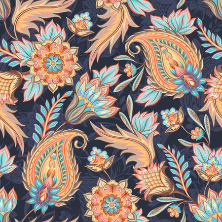 Illustration pour Traditional oriental paisley pattern. Seamless vintage flowers background. Decorative ornament backdrop for fabric, textile, wrapping paper, card, invitation, wallpaper, web design. - image libre de droit