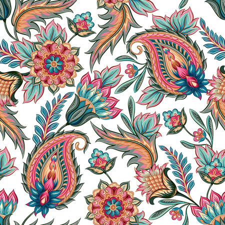 Illustration pour Traditional oriental seamless paisley pattern. Vintage flowers background. Decorative ornament backdrop for fabric, textile, wrapping paper, card, invitation, wallpaper, web design. - image libre de droit