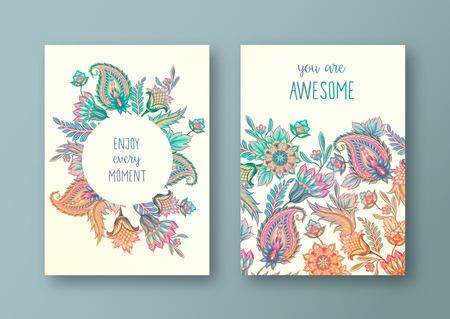 Illustration pour Set of vector greeting card, flyers, brochures, template design. Vintage paisley floral decorative ornamental background pattern. - image libre de droit