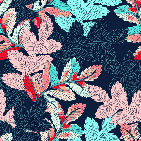 Illustration pour Seamless background leaves pattern. Decorative backdrop for fabric, textile, wrapping paper, card, invitation, wallpaper, web design - image libre de droit