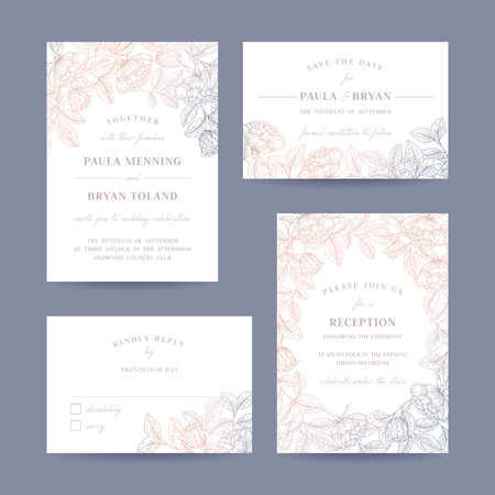 Illustration pour Hand drawn rose garden wedding invitation card collection. Invitation, Save the date,  RSVP, Reception, Thank you  card template with floral background. - image libre de droit