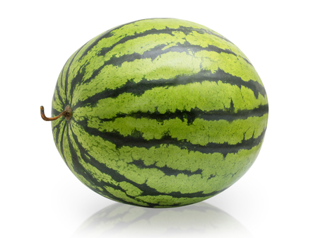 Photo for Whole watermelon isolated on white background - Royalty Free Image
