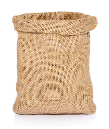 Photo pour Empty burlap sack bag isolated on white background - image libre de droit