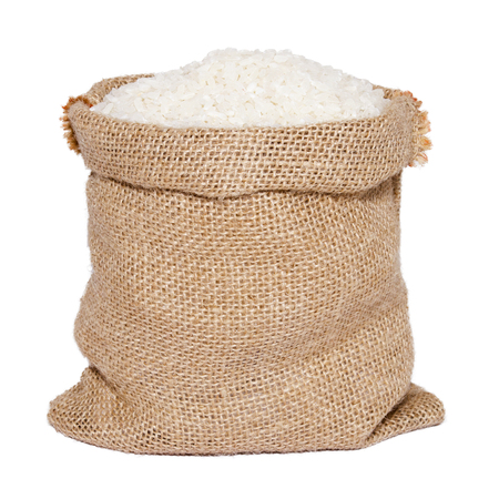Photo pour White rice in burlap sack bag isolated on white background - image libre de droit