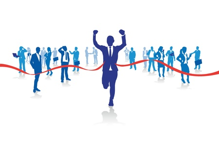 Illustration for a business man running from the crowd - Royalty Free Image