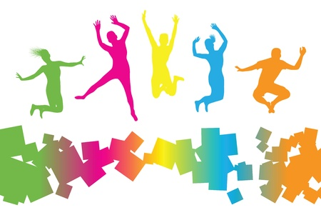 Illustration pour  colourful jumping people - image libre de droit