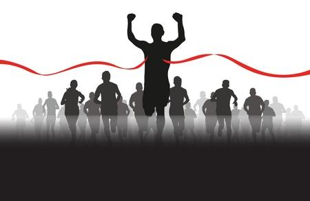 Ilustración de a group of runners coming through the red tape - Imagen libre de derechos