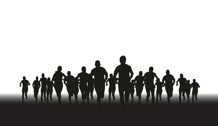 Illustration for a silhouette of a group of runners  - Royalty Free Image