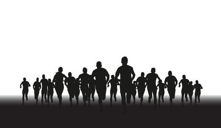Ilustración de a silhouette of a group of runners  - Imagen libre de derechos