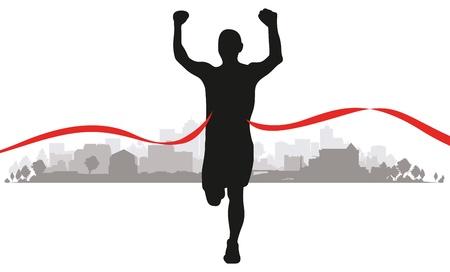 Ilustración de a runner coming to the line through a cityscape background - Imagen libre de derechos