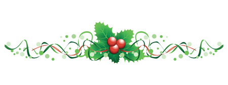 Illustration for christmas holly banner - Royalty Free Image