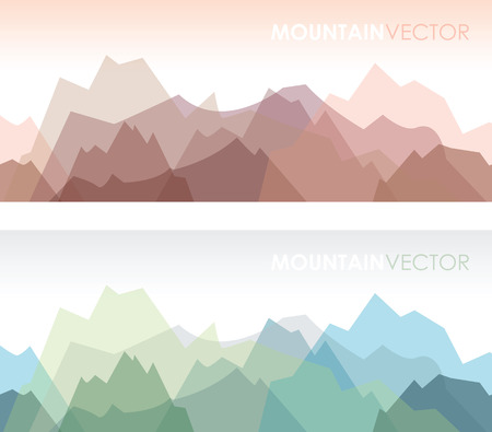 Illustration pour a set of two overlapping coloured mountain backgrounds - image libre de droit