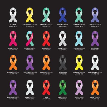 Illustration pour set of awareness ribbons - image libre de droit