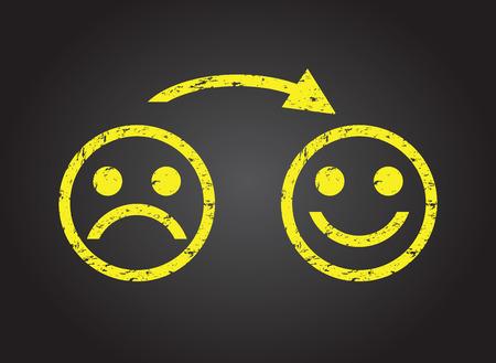 Illustration pour sad face to a happy face - image libre de droit