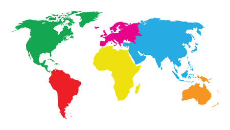 Illustration pour colourful continents world map - image libre de droit