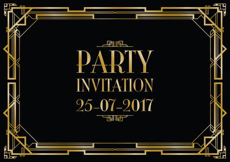 Illustration for party invitation art deco background - Royalty Free Image