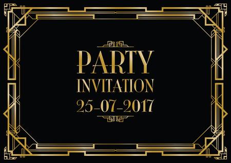 Ilustración de party invitation art deco background - Imagen libre de derechos