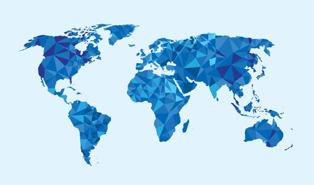 Illustration pour World map triangle geometric shapes - image libre de droit