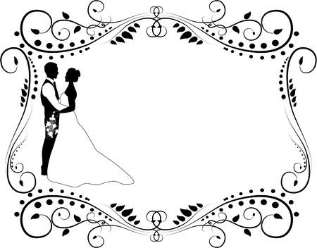 Ilustración de wedding couple silhouette - Imagen libre de derechos