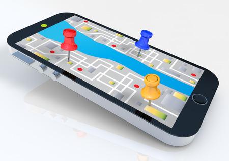 Foto de Smart phone with map - Imagen libre de derechos