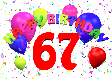 Photo for 67 Happy Birthday  3D render - Royalty Free Image