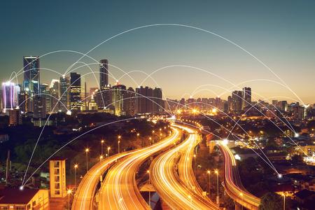 Foto für city scape and network connection concept  Image ID:411942079 - Lizenzfreies Bild