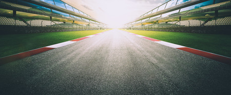 Photo for View of the infinity empty asphalt international race track, digital imaging recomposition montage background . evening scene . - Royalty Free Image