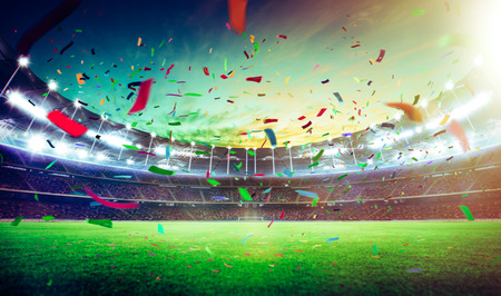 Photo for Evening grand stadium championship win with confetti  . - Royalty Free Image