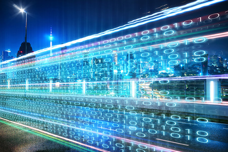 Foto für Highway flyover with binary code numbers on motion blurred asphalt  road , speed and faster digital matrix technology information concept . - Lizenzfreies Bild