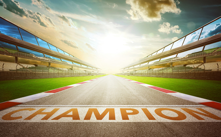 Photo pour View of the infinity empty asphalt international race track with champion word start line . evening scene . - image libre de droit