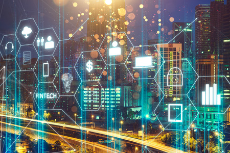 Foto de Fintech icon and internet of things with matrix code background , Investment and financial internet technology concept. - Imagen libre de derechos