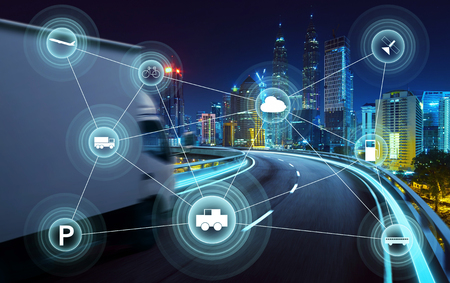 Foto de Morden city and smart transportation and intelligent communication network of things ,wireless connection technologies for business . - Imagen libre de derechos